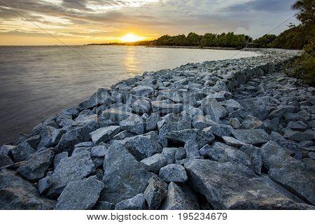 rock dam protect coastal erosion in bangpoo thailand