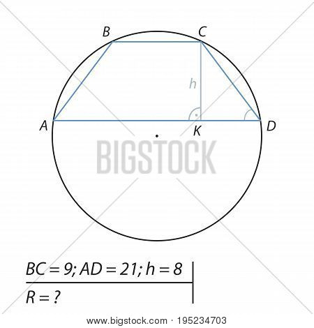 The problem of calculating the radius of the circumscribed circle