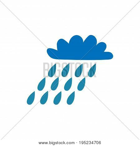 Cloud with rain sign. Blue plane icon isolated on white background. Color weather logo. Raininess symbol. Rainy flat silhouette. Weather mark. Stock vector illustration