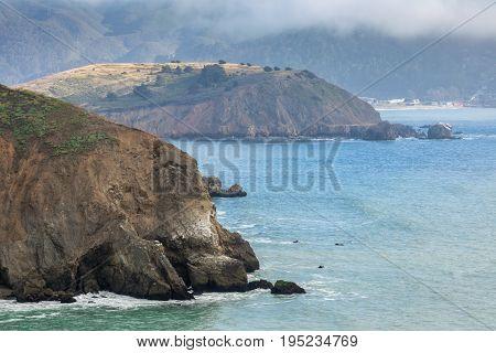 Mori Point in Fog. Pacifica, San Mateo County, California, USA.