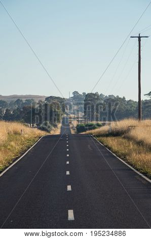 Two lane rural road in Dookie in the Goulburn Valley Australia
