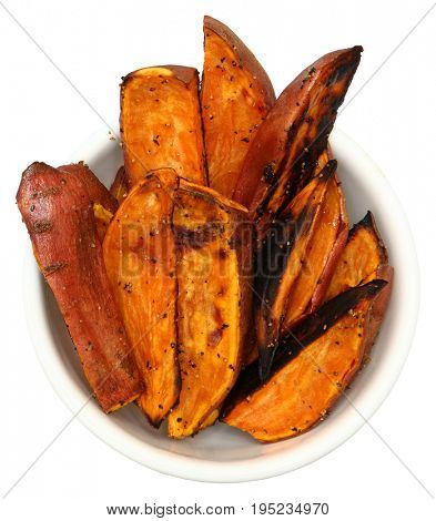 Sweet Potato Fries in white bowl over white.
