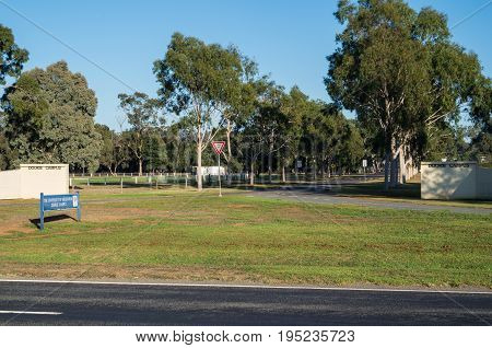 Dookie, Australia - April 18, 2017: entrance to the Dookie Campus of the University of Melbourne. The Dookie Campus is a specialist agricultural college.