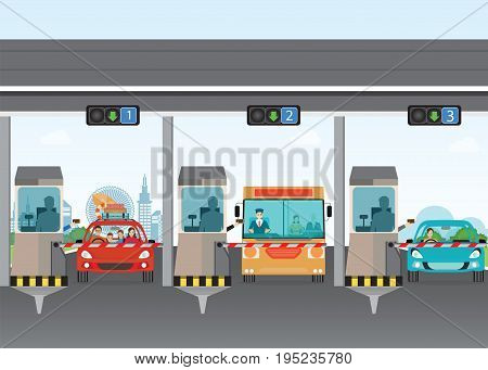 Driver cars passing through to pay road toll at highway toll booth vector illustration.