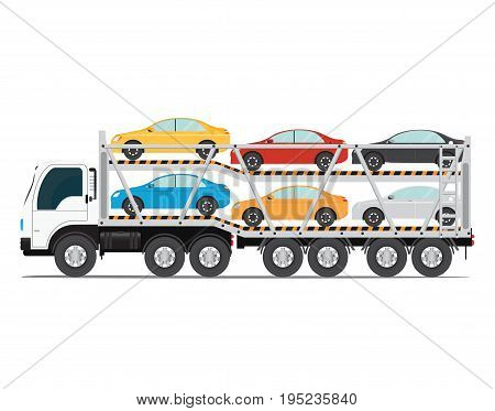 The trailer transports cars with new auto truck trailer transport vehicles isolated on white background vector illustration.