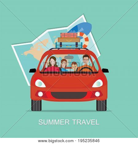 Happy family driving in red car on weekend holiday Planning summer vacations Travel by car Summer holidayTourism and vacation theme. Flat design vector illustration.