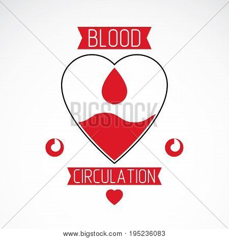 Vector illustration of heart shape. Blood circulation concept charity and volunteer conceptual logo for use in medical care advertisement.