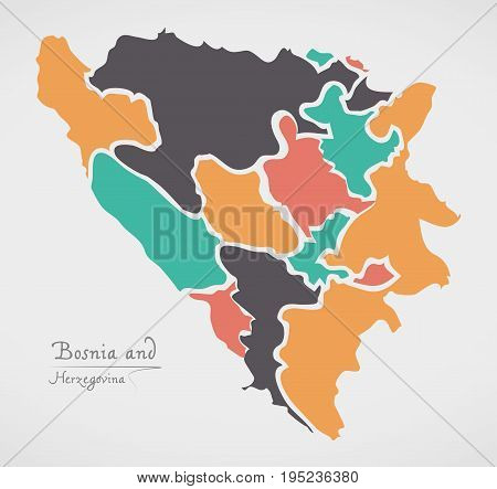Bosnia And Herzegovina Map With States And Modern Round Shapes
