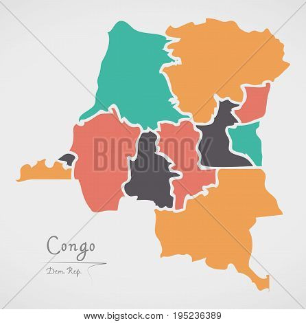 Congo Democratic Republic Map With States And Modern Round Shapes