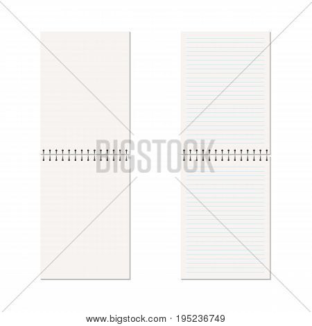 Vector realistic open notebook. Vertical blank copybook with metallic spiral. Template (mock up) of organizer or diary isolated. The view from the top. Horizontal lined notebook.