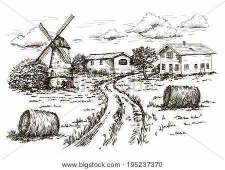 windmill, village houses and farmland. vector sketch drawn by hand on a black background