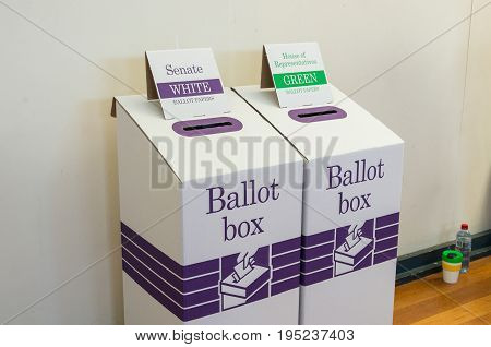 Melbourne, Australia - July 2, 2016: ballot box at the 2016 Australian federal election.