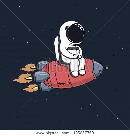 Cute astronaut sits on rocket and flying through space .Childish vector illustration.Prints design for kids wear or t-shirts