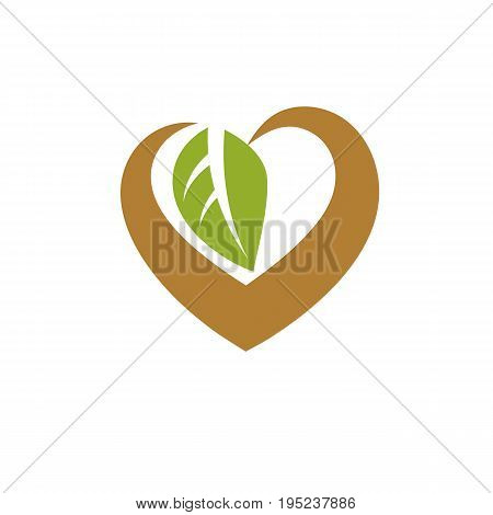 Vector heart shape illustration composed with green leaves. Living in harmony with nature concept green health idea symbol.