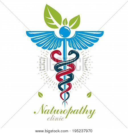 Aesculapius vector abstract logo Caduceus symbol composed with bird wings for use in medical treatment.