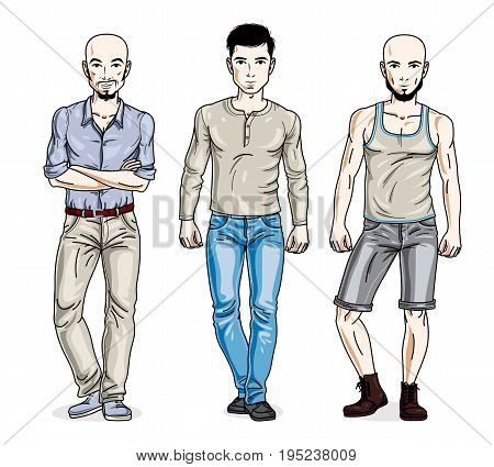 Confident handsome men posing wearing fashionable casual clothes. Vector people illustrations set.