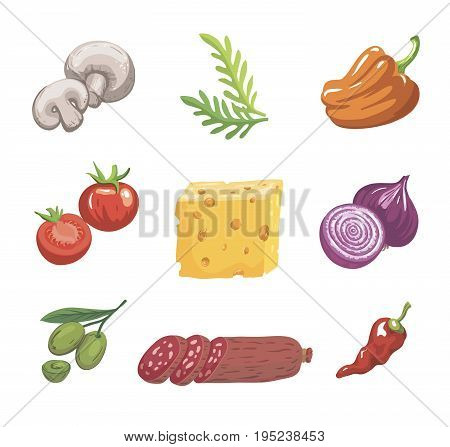 Foodstuffs. Ingredients for pizza. Set of color sketches on white background