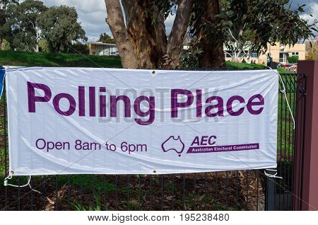 Melbourne, Australia - July 2, 2016: an Australian Electoral Commission banner outside a Melbourne polling booth on federal election day.