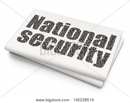 Safety concept: Pixelated black text National Security on Blank Newspaper background, 3D rendering