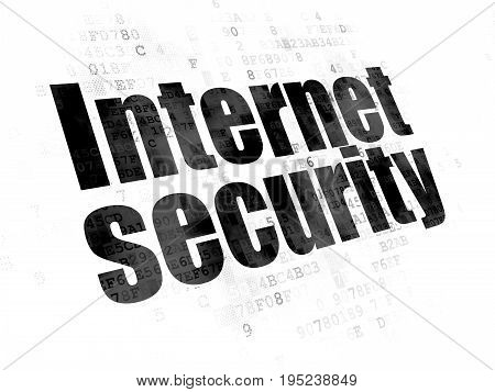 Safety concept: Pixelated black text Internet Security on Digital background