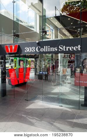 Melbourne, Australia - February 23, 2017: Westpac Bank is Australia's oldest bank and one of Australia's four large national banks. This is its 303 Collins Street branch.