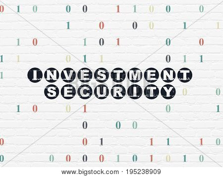Safety concept: Painted black text Investment Security on White Brick wall background with Binary Code