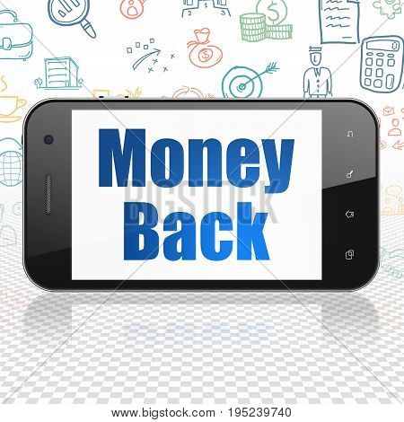 Finance concept: Smartphone with  blue text Money Back on display,  Hand Drawn Business Icons background, 3D rendering