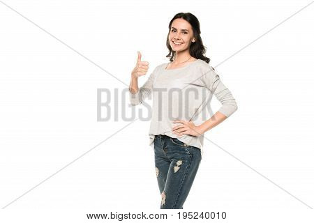 Beautiful Smiling Woman Showing Thumb Up, Isolated On White