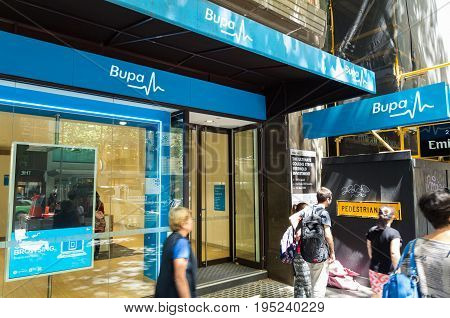 Melbourne, Australia - February 23, 2017: Bupa is Australia's second largest private health insurance fund. This is a Bupa office in central Melbourne.