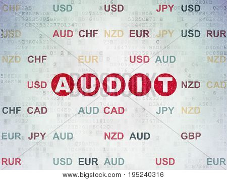Business concept: Painted red text Audit on Digital Data Paper background with Currency