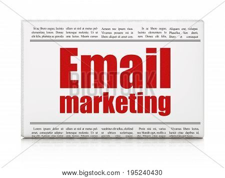 Finance concept: newspaper headline Email Marketing on White background, 3D rendering