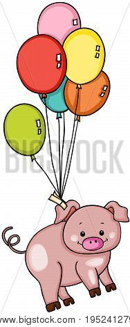 Scalable vectorial image representing a cute pig flying with balloons, isolated on white.