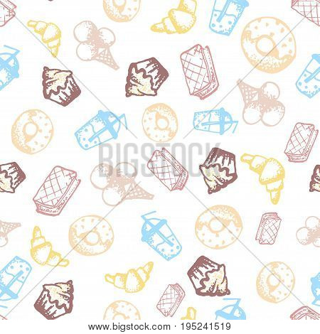 Food hand-drawn sketch line icons seamless pattern with icecream juice donut croissant on white background. Vector illustrations