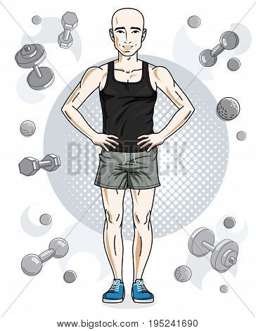 Confident handsome bald young man is standing on simple background with dumbbells and barbells. Vector illustration of sportsman sport style.