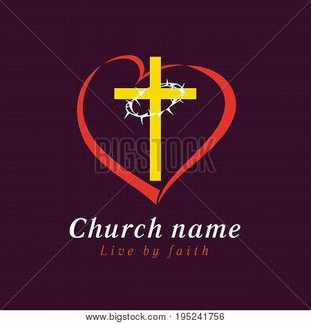 The vector cross of Jesus and torns in heart. Cross and thorns love church logo. Symbol for churches, Christian organizations an bible study school