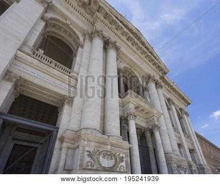 Basilica di San Giovanni in Laterano (St. John Lateran basilica) in Rome. Close view to the facade. Italy Rome June 2017