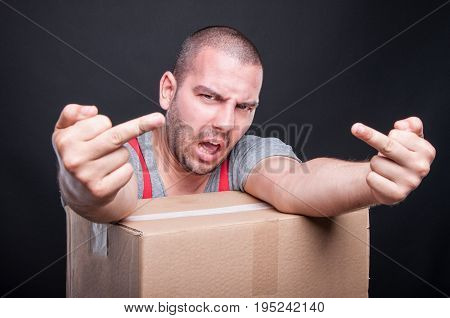 Angry Mover Guy Showing Obscene Gesture