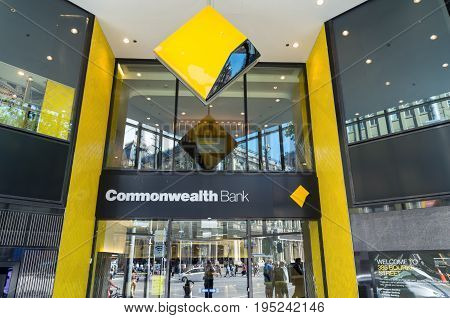 Melbourne, Australia - February 23, 2017: the Commonwealth Bank of Australia is Australia's largest bank. This is its flagship branch on Bourke Street.