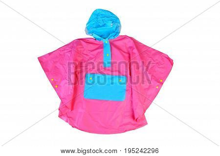 Children's bright fashionable pink jacket for the little girl windbreaker with hood buttoned raincoat with pocket isolated on a white background