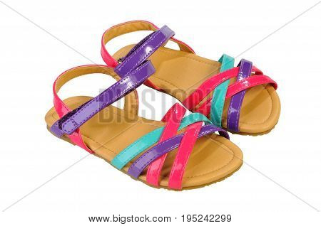 Bright childrens sandals thin straps isolated on white. Shoes for summer