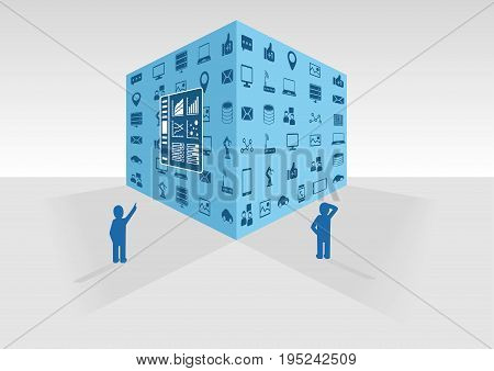 Two persons looking at big data cube and dashboard