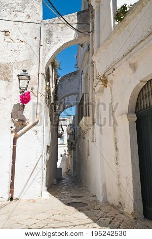 Characteristic alleyway of Ceglie Messapica. Puglia. Italy.