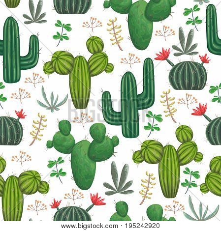 Seamless pattern with, cacti, succulents and floral elements. Vintage vector botanical illustration in watercolor style.