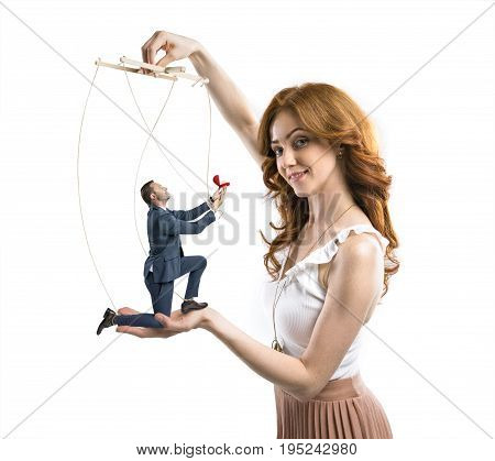 man manipulated by cunning woman to make a proposal isolated on white poster