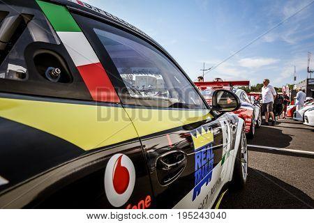 Vallelunga, Rome, Italy. June 24 2017. Italian Porsche Carrera Cup, Many Cars In Paddock