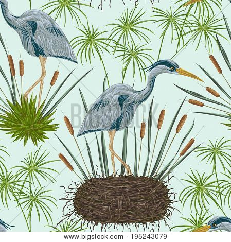 Seamless pattern with heron bird, nest and swamp plants. Marsh flora and fauna. Isolated elements Vintage hand drawn vector illustration in watercolor style