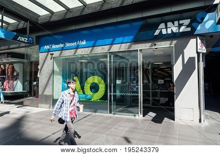 Melbourne, Australia - February 23, 2017: ANZ Bank is one of Australia's four large retail banks. This branch is in central Melbourne.
