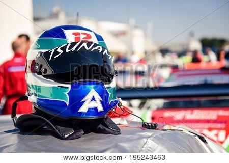 Vallelunga, Rome, Italy. June 24 2017. Car Racing Helmet Close Up