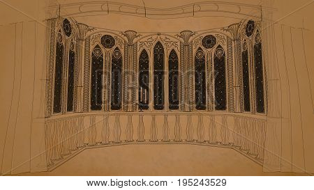 Gothic balcony in old castle 3d render illustration cartoon old book style lines background