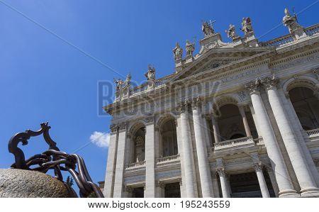 Basilica di San Giovanni in Laterano (St. John Lateran basilica). Facade. Italy Rome June 2017